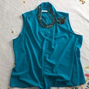 Calvin Klein teal blouse size large.